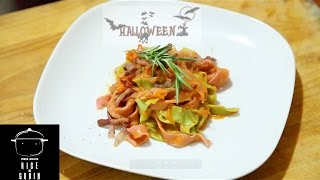 Fettuccine With Pumpkin Creme And Pancetta ( Halloween Special) Rice N Grain