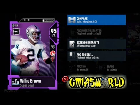 I Chose This 95 OVR NAT Willie Brown & I Regret It Madden 18 Ultimate Team Details MUT 18 SuperBowl