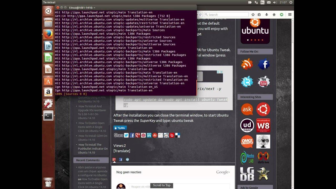 How To Install Ubuntu Tweak Using A Ppa On Ubuntu 1410