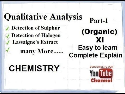 Qualitative Analysis part 1(Organic Chemistry- Detection of elements)  CBSE class 11 XI HINDI