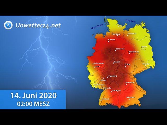 13. und 14. Juni: Schwere Unwetter mit hohen Blitzraten und heftigem Platzregen!