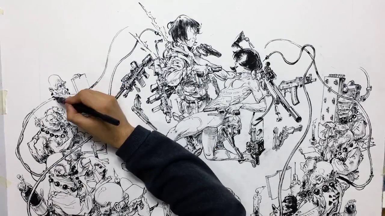 Ghost In The Shell Timelapse By Kim Jung Gi Youtube