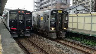 (808)JR門松駅にて813系(普通 博多)と817系(普通 篠栗)の撮影