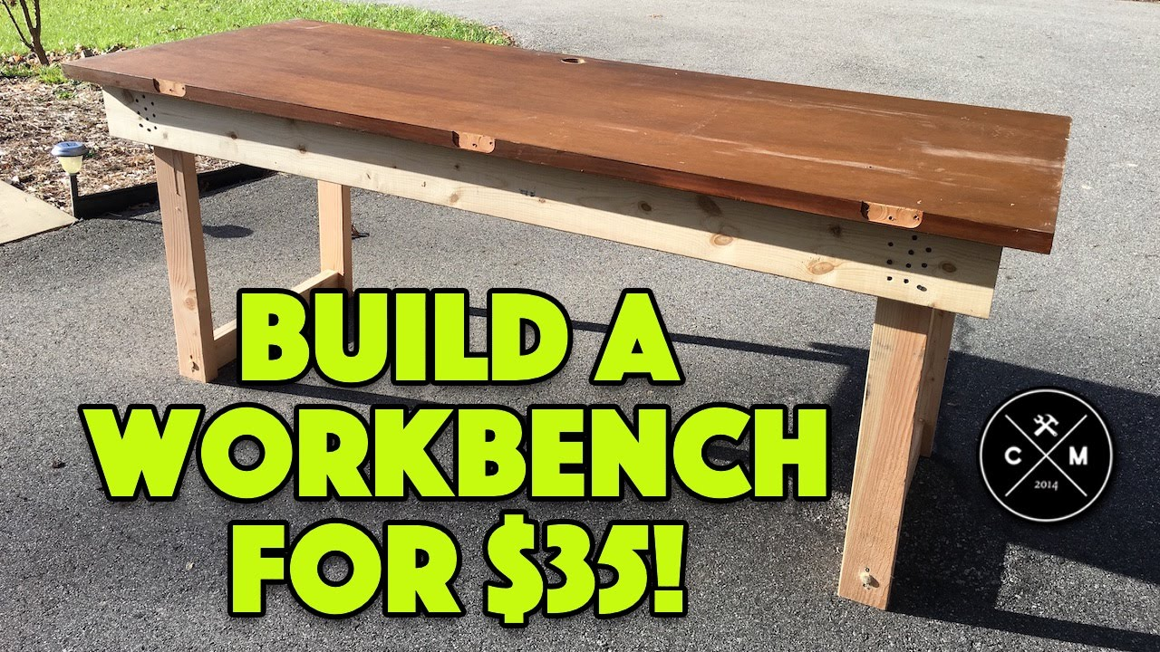 How To Build A Workbench with a Solid Core Door for $35 | Crafted Workshop - YouTube & How To Build A Workbench with a Solid Core Door for $35 | Crafted ...