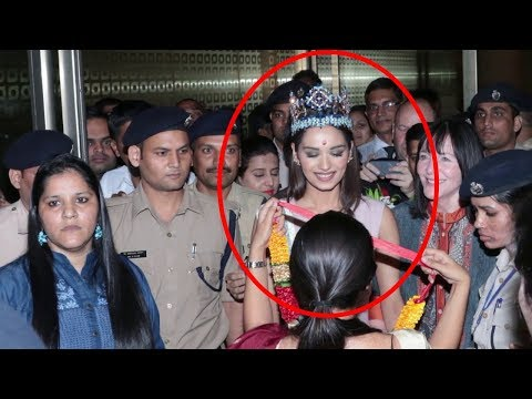 Manushi Chhillar's Grand And Royal Welcome At Mumbai Airport | Miss World 2017