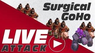 Clash of Clans - Live Surgical Hog GoHo Raid | TH9 vs TH9 3 star Clan War Attack Strategy!