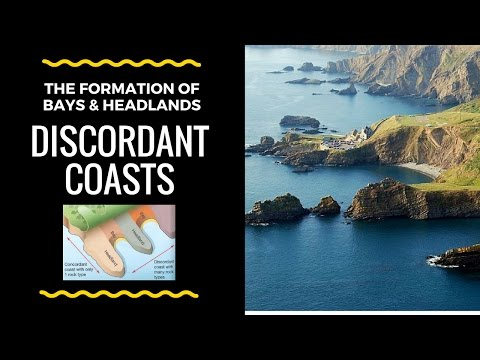 How Headlands & Bays are formed on Discordant Coasts - labelled diagram and explanation