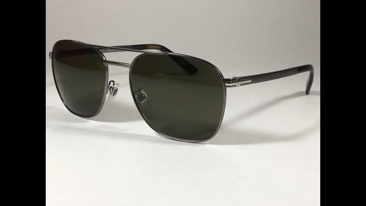 0bcd41b22df New Authentic Gucci Aviator Pilot Sunglasses Gunmetal Tortoise Green Lens  GG2270 Dark Ruthenium Gray