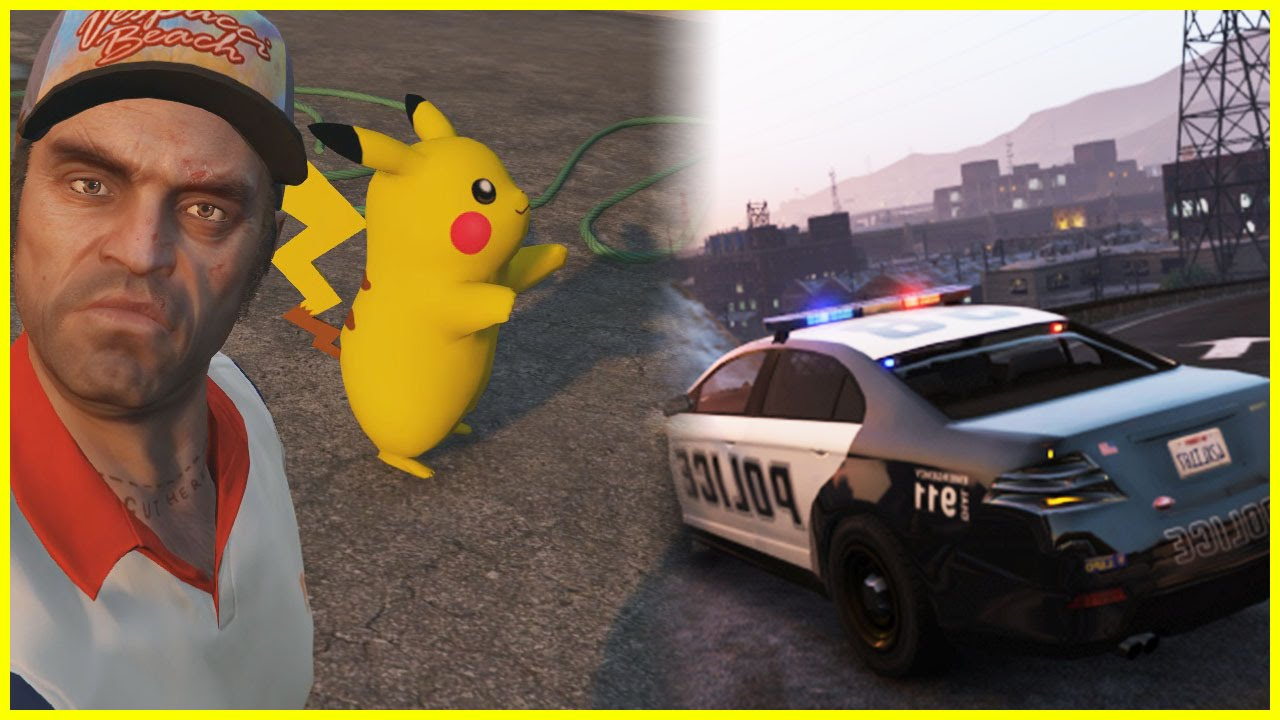 GTA 5 Mods - RUNNING FROM THE COPS WITH PIKACHU! | Pokemon Go GTA 5 Mod