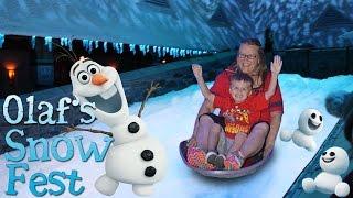 Sledding at Olaf's Snow Fest in Disneyland