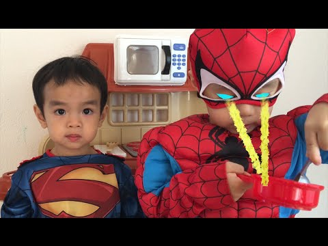 Happy Mothers Day Superman and Spiderman Cooked Omelet With Special Power Video for Kids