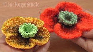 Урок How To Make Poppy Flower Tutorial 68 часть 2 из 3 Цветы вязаные крючком