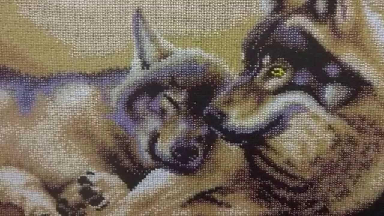 Волки пара вышивка бисером