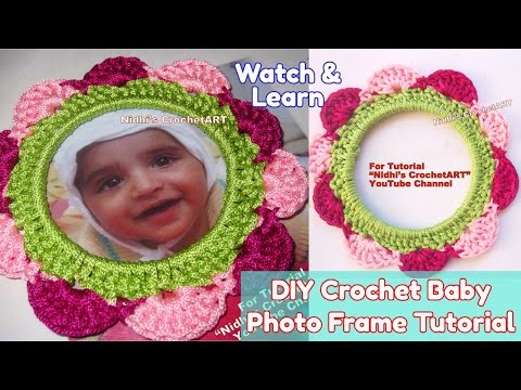 How to Crochet- Circular Round Baby Photo Frame using Multicolor Shell Stitch Tutorial