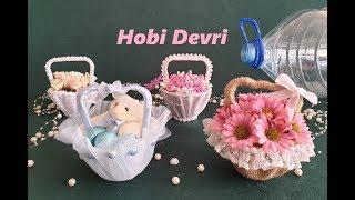 DIY,Making Basket With Plastic Bottles,Wedding Favors,Baby Shower,Gift Basket,Plastik Şişeden Sepet