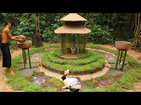 Build Fish Pond And Oxygen Water Wheel Around Rabbit House