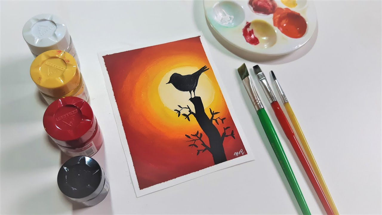 How To Paint With Poster Colours Postercolour Painting Ideas For Beginners Bird In Sunset Aellart Youtube