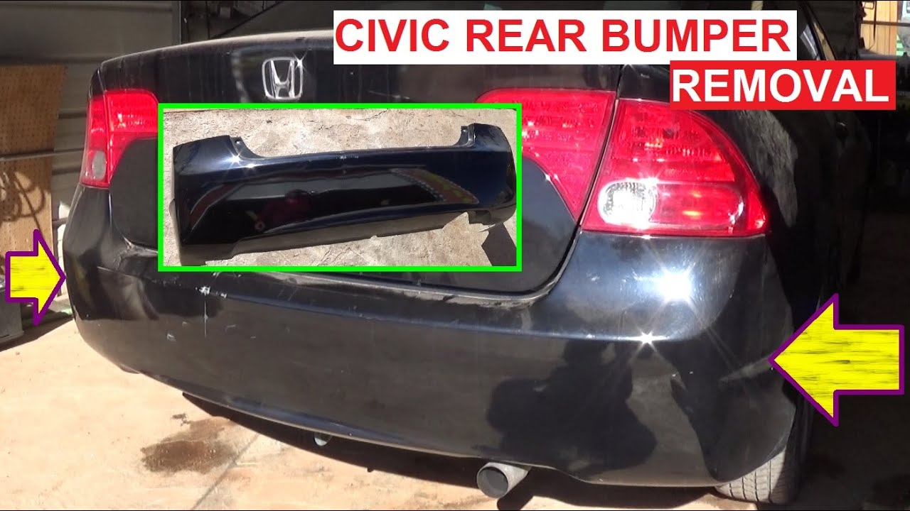 rear bumper cover removal and replacement honda civic 2005 2006 2007 2008 2009 2010 2011 [ 1280 x 720 Pixel ]