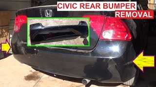 Rear Bumper Cover Removal and Replacement Honda Civic 2005 2006 2007 2008 2009 2010 2011