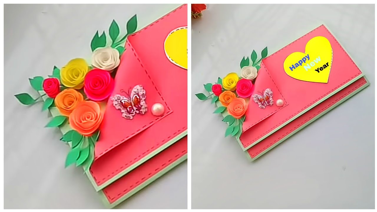 How to make new year 2019 greeting card / easy and ...