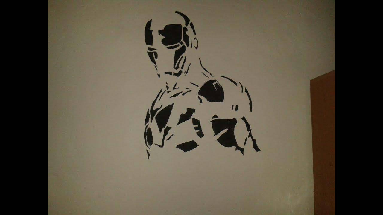 wall draw - iron man - youtube