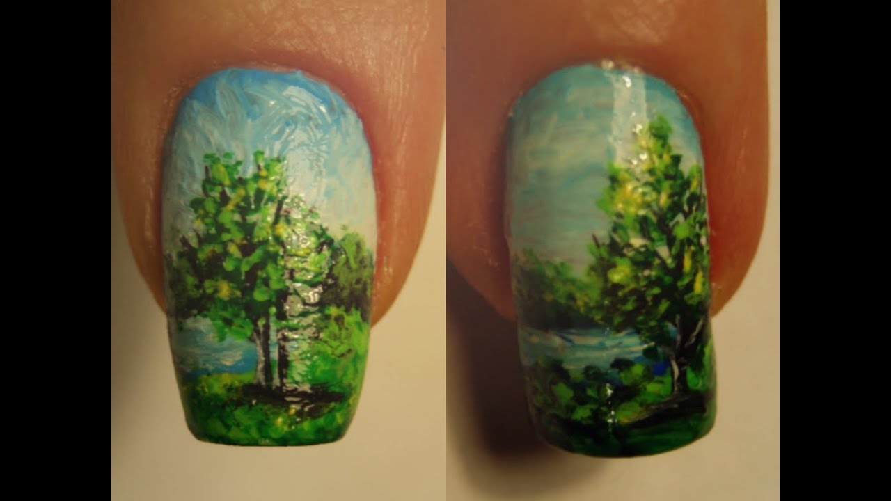 Summer Landscape Nail Art Design Micro Painting - YouTube
