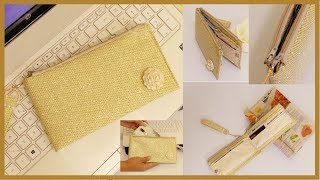 DIY WALLET: Cute Glitter Double Zip Clutch Wallet for Money & Phone that You Can Give as a Gift