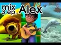 Alex cartoon, 11 min. educational videos: Dolphin, lion and guitar