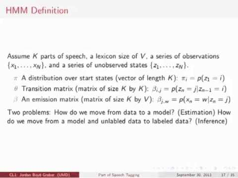 Computational Linguistics I: Part of Speech Tagging