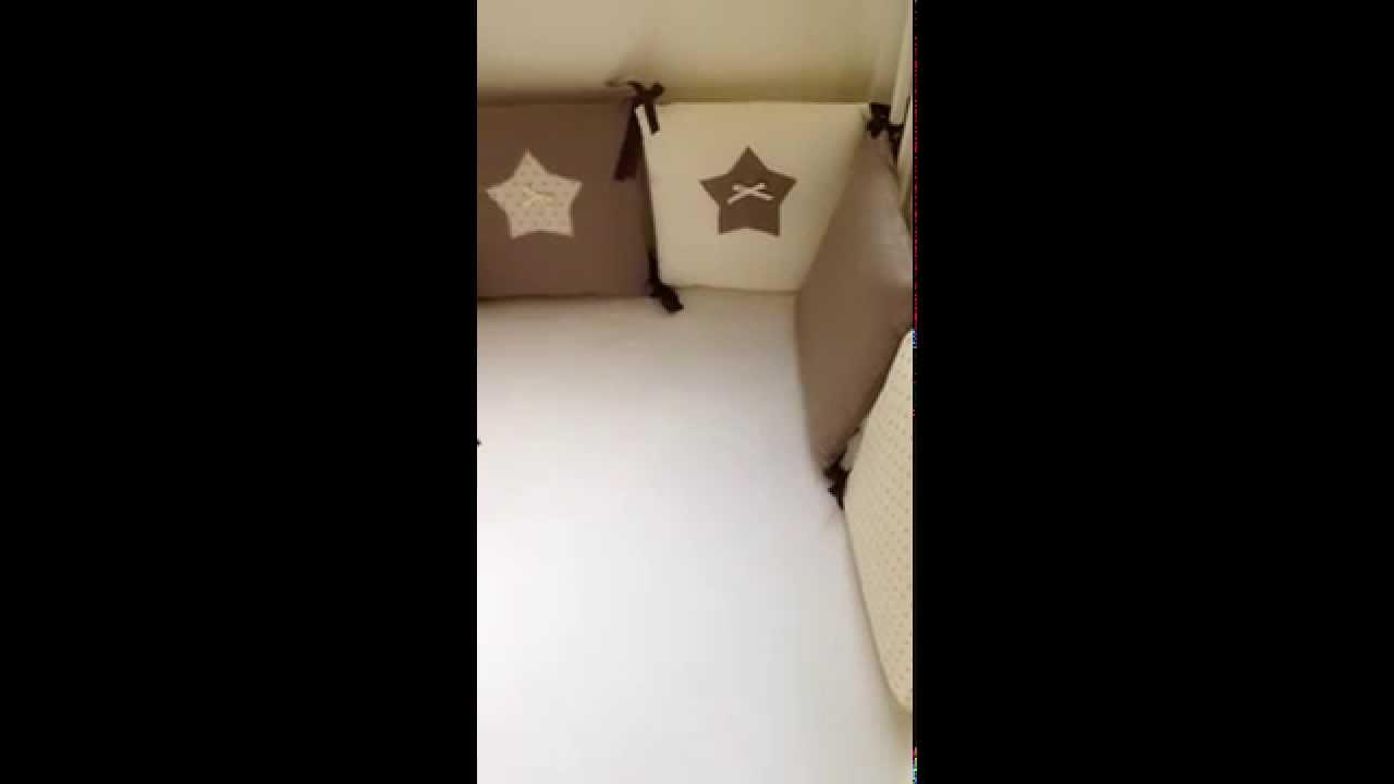 Tour de lit b b beige marron pois etoiles youtube - Tour de lit beige ...