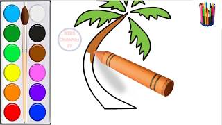 Draw Coconut Tree   Drawing and coloring   Coconut Tree  Art Colors for Children