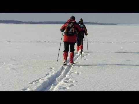 Skiing over the sea to Kessulaid in Estonia