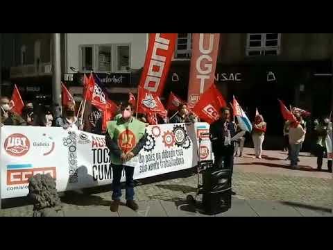 Manifestación de UGT y CC OO en Pontevedra por el primero de mayo