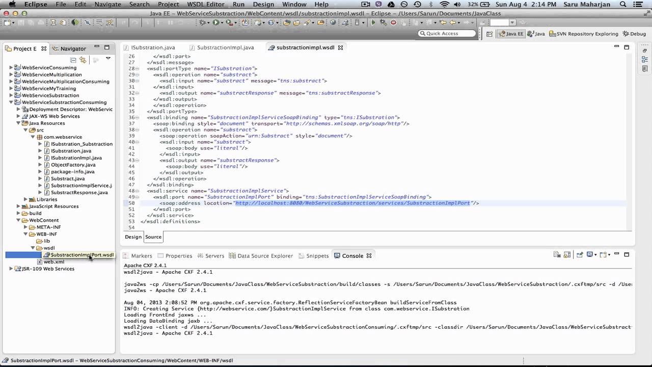 WSDL example consuming on Ecplise using Apache CXF 2 X
