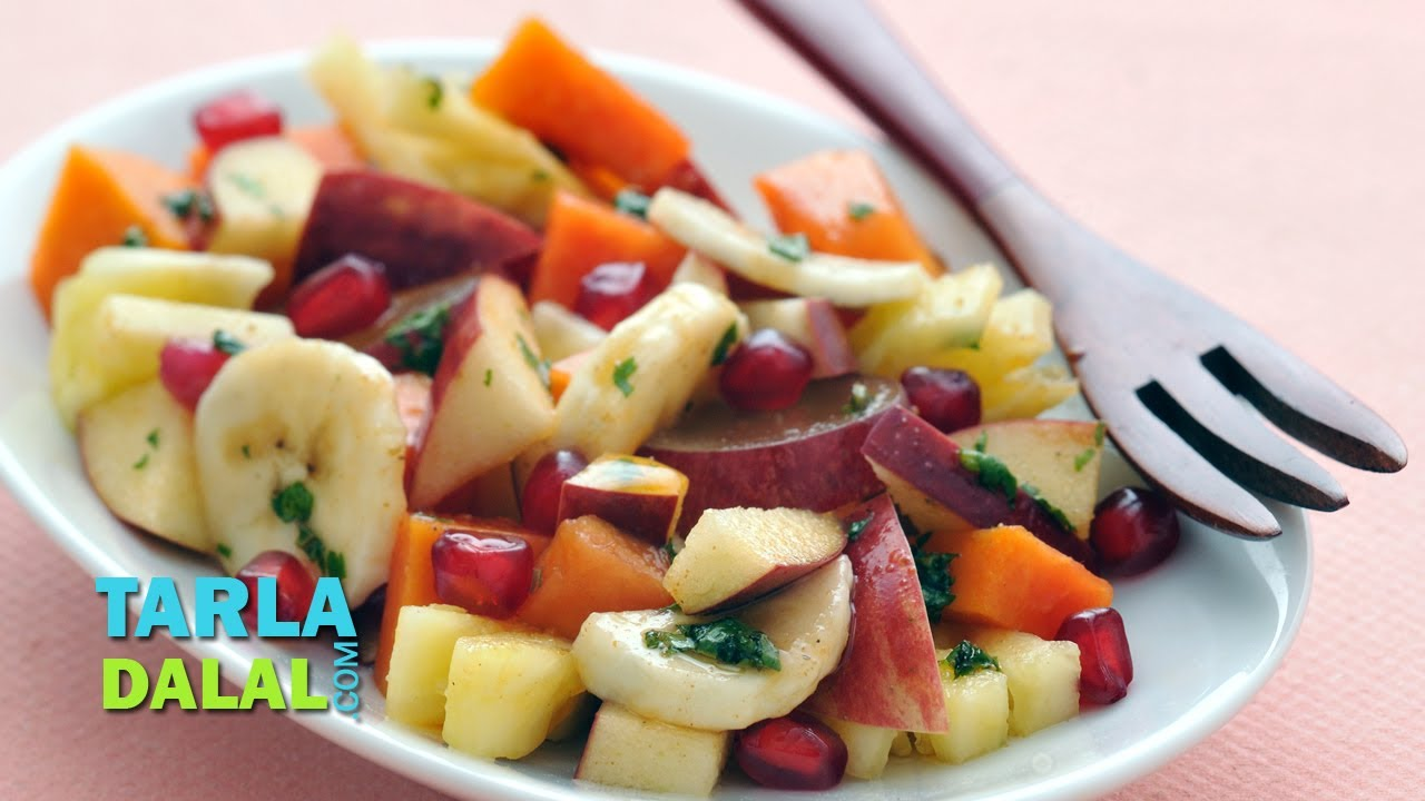 Fruit Chaat Low Calorie Healthy Snack By Tarla Dalal Youtube