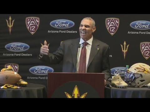 Herm Edwards gets fired up during introductory news conference with Arizona State   ESPN