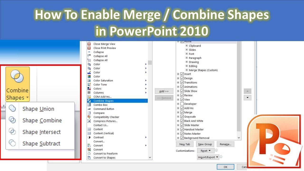 How to Enable Merge / Combine Shapes in PowerPoint 2010