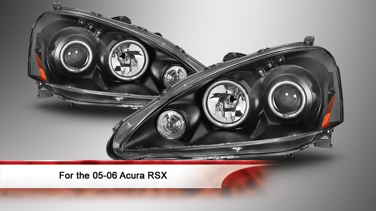 Acura RSX CCFL Halo Projector Headlights YouTube - 2006 acura rsx headlights
