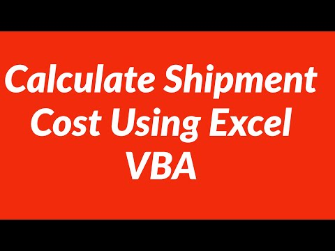 Calculate shipment Cost Userform Excel VBA