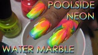 Poolside Neon Rainbow Water Marble #2 | DIY Nail Art Tutorial