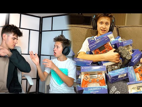 DESTROYING MY LITTLE BROTHER'S PS4 CONTROLLER & BUYING HIM 100 NEW ONES...($10000)