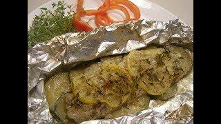 Рыба,запеченная с цукини Вкусно!Просто и быстро