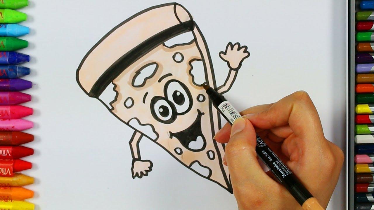 Wie man Pizza zeichnet 🍕| Malvorlagen | Für Baby | Farben für ...