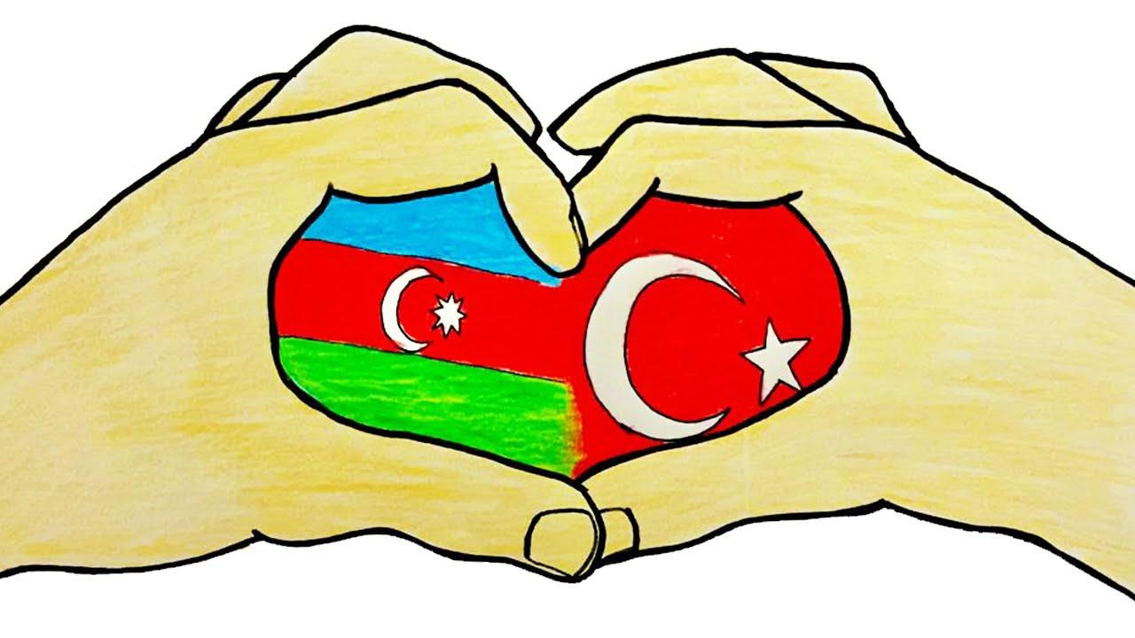 AZERBAYCAN VE TÜRKİYE KARDEŞLİĞİ ÇİZİMİ - ÇİZİM MEKTEBİ ÇİZİMLERİ