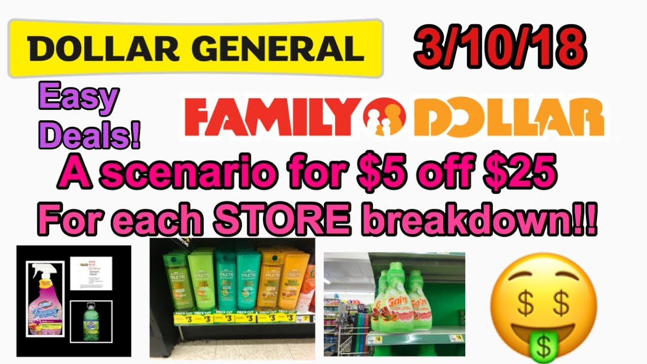 Dollar General && Family Dollar $5 Off $25 Scenarios! $11 Or Less OOP!  3/10/18