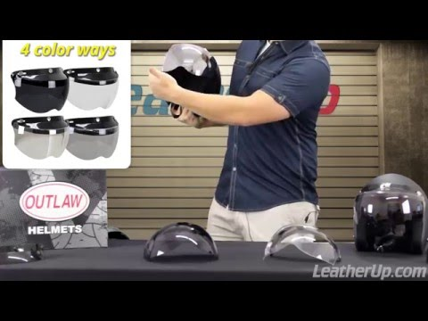 ef802e9a Outlaw Universal 3 Snap-Button Visor with Flip-up Shield at LeatherUp -  YouTube