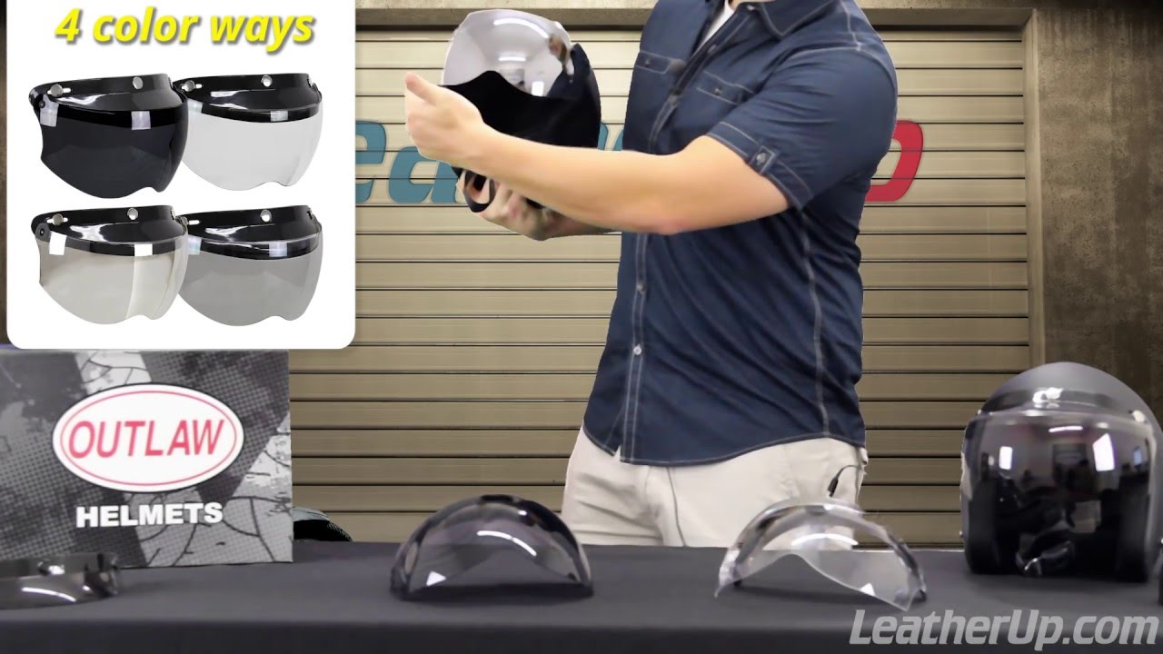 2deaf4c6 Outlaw Universal 3 Snap-Button Visor with Flip-up Shield at LeatherUp -  YouTube