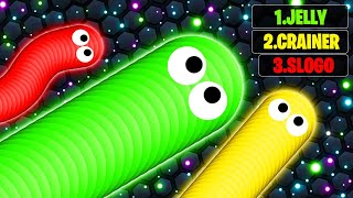 JELLY vs. SLOGO vs. CRAINER In SLITHER.IO! (World Record)