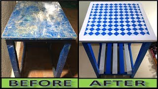 Old Furniture Transformation:- How to Paint a Diamond Pattern Without a Stencil