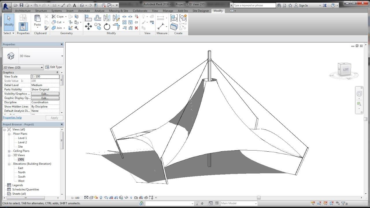 Bim Revit Adaptive Component 04a Modeling Tensile Fabric